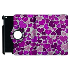 Sparkling Hearts Purple Apple iPad 2 Flip 360 Case