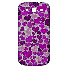Sparkling Hearts Purple Samsung Galaxy S3 S III Classic Hardshell Back Case