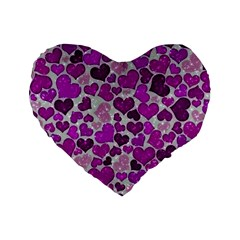 Sparkling Hearts Purple Standard 16  Premium Heart Shape Cushions