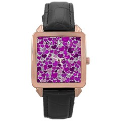 Sparkling Hearts Purple Rose Gold Watches