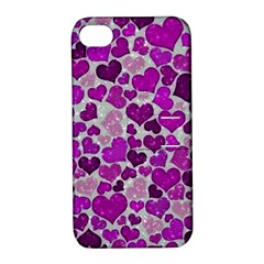 Sparkling Hearts Purple Apple iPhone 4/4S Hardshell Case with Stand