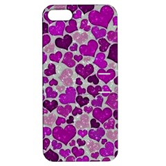 Sparkling Hearts Purple Apple iPhone 5 Hardshell Case with Stand