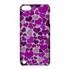Sparkling Hearts Purple Apple iPod Touch 5 Hardshell Case with Stand