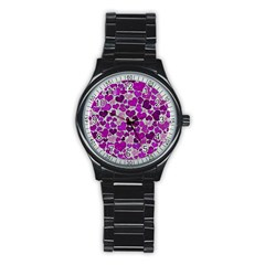 Sparkling Hearts Purple Stainless Steel Round Watches