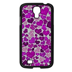 Sparkling Hearts Purple Samsung Galaxy S4 I9500/ I9505 Case (Black)