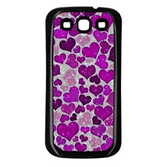 Sparkling Hearts Purple Samsung Galaxy S3 Back Case (Black)