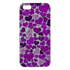Sparkling Hearts Purple iPhone 5S Premium Hardshell Case