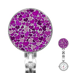 Sparkling Hearts Purple Stainless Steel Nurses Watches