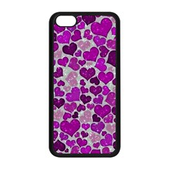 Sparkling Hearts Purple Apple iPhone 5C Seamless Case (Black)