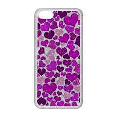 Sparkling Hearts Purple Apple iPhone 5C Seamless Case (White)