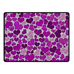 Sparkling Hearts Purple Double Sided Fleece Blanket (Small)