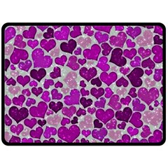 Sparkling Hearts Purple Double Sided Fleece Blanket (Large)