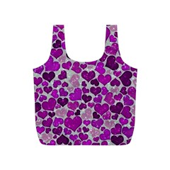 Sparkling Hearts Purple Full Print Recycle Bags (S)