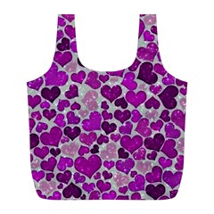 Sparkling Hearts Purple Full Print Recycle Bags (L)