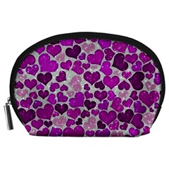 Sparkling Hearts Purple Accessory Pouches (Large)