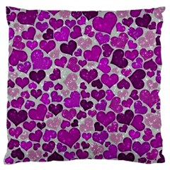 Sparkling Hearts Purple Large Flano Cushion Cases (Two Sides)