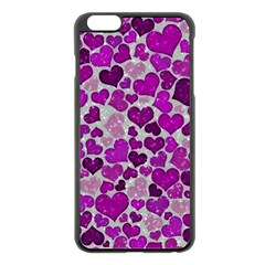 Sparkling Hearts Purple Apple iPhone 6 Plus Black Enamel Case