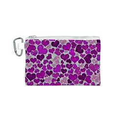 Sparkling Hearts Purple Canvas Cosmetic Bag (S)