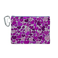 Sparkling Hearts Purple Canvas Cosmetic Bag (M)