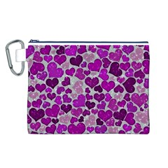 Sparkling Hearts Purple Canvas Cosmetic Bag (L)
