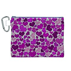 Sparkling Hearts Purple Canvas Cosmetic Bag (XL)