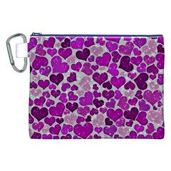 Sparkling Hearts Purple Canvas Cosmetic Bag (XXL)