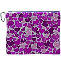 Sparkling Hearts Purple Canvas Cosmetic Bag (XXXL)