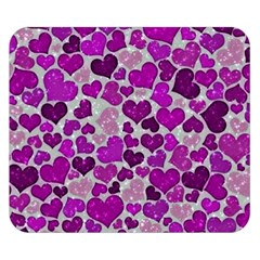 Sparkling Hearts Purple Double Sided Flano Blanket (small)