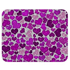 Sparkling Hearts Purple Double Sided Flano Blanket (Medium)