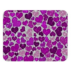 Sparkling Hearts Purple Double Sided Flano Blanket (Large)