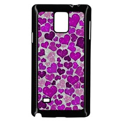Sparkling Hearts Purple Samsung Galaxy Note 4 Case (Black)