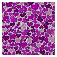 Sparkling Hearts Purple Large Satin Scarf (Square)