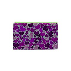 Sparkling Hearts Purple Cosmetic Bag (XS)