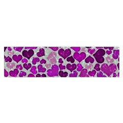 Sparkling Hearts Purple Satin Scarf (Oblong)