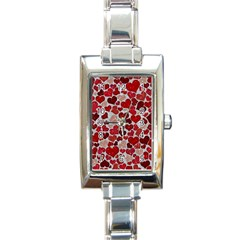 Sparkling Hearts, Red Rectangle Italian Charm Watches