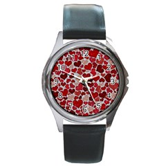 Sparkling Hearts, Red Round Metal Watches