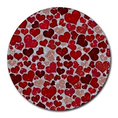 Sparkling Hearts, Red Round Mousepads