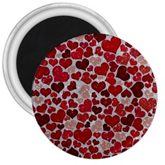 Sparkling Hearts, Red 3  Magnets