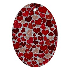 Sparkling Hearts, Red Ornament (Oval)