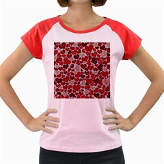 Sparkling Hearts, Red Women s Cap Sleeve T-Shirt