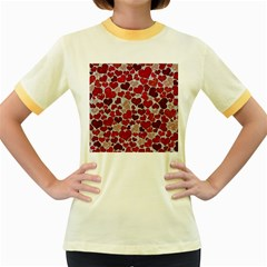 Sparkling Hearts, Red Women s Fitted Ringer T-Shirts