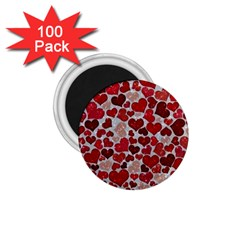 Sparkling Hearts, Red 1.75  Magnets (100 pack)