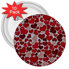 Sparkling Hearts, Red 3  Buttons (10 pack)