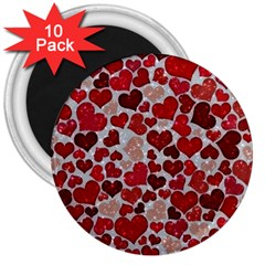 Sparkling Hearts, Red 3  Magnets (10 pack)
