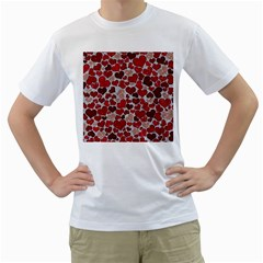 Sparkling Hearts, Red Men s T-Shirt (White) (Two Sided)