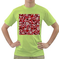 Sparkling Hearts, Red Green T-Shirt