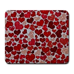 Sparkling Hearts, Red Large Mousepads