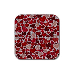 Sparkling Hearts, Red Rubber Coaster (Square)