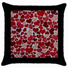 Sparkling Hearts, Red Throw Pillow Cases (Black)