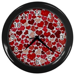 Sparkling Hearts, Red Wall Clocks (Black)